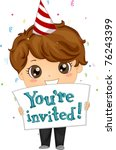 Illustration of a Boy Inviting People to His Party - stock vector