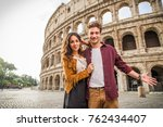 young couple at the colosseum ... | Shutterstock . vector #762434407