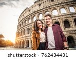 young couple at the colosseum ... | Shutterstock . vector #762434431