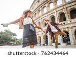 young couple at the colosseum ... | Shutterstock . vector #762434464