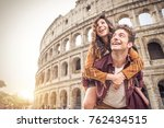 young couple at the colosseum ... | Shutterstock . vector #762434515