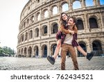 young couple at the colosseum ... | Shutterstock . vector #762434521