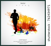 young jogger with abstract...   Shutterstock .eps vector #762434971