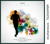 young jogger with abstract... | Shutterstock .eps vector #762434989