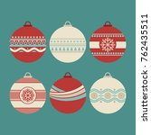 a set of christmas balls with... | Shutterstock .eps vector #762435511