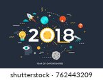 infographic concept  2018  ... | Shutterstock .eps vector #762443209