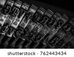 old typewriter detail close up. ... | Shutterstock . vector #762443434