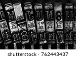 old typewriter detail close up. ... | Shutterstock . vector #762443437