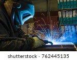 welder  craftsman  erecting... | Shutterstock . vector #762445135