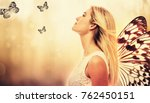 beautiful young woman with... | Shutterstock . vector #762450151