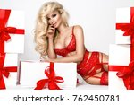 stunning blonde female model in ... | Shutterstock . vector #762450781