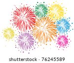 vector colorful fireworks with stars and sparks on white background - stock vector