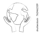 hands with world planet earth... | Shutterstock .eps vector #762461539
