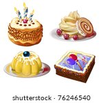 cakes and sweets collection - stock vector