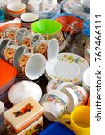 the tableware is gathered... | Shutterstock . vector #762466111