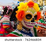 woman wearing colorful skull... | Shutterstock . vector #762466834