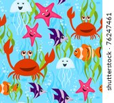 sea life seamless pattern | Shutterstock .eps vector #76247461