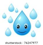 smiling water droplet | Shutterstock .eps vector #76247977