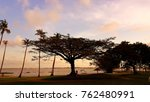 sunset down ocean tree abidjan... | Shutterstock . vector #762480991