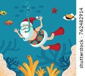 Cartoon Santa Claus Snorkeling...