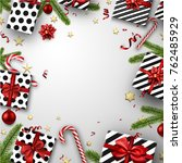 white christmas background with ... | Shutterstock .eps vector #762485929