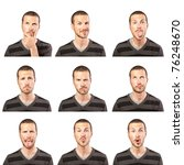 young man face expressions... | Shutterstock . vector #76248670