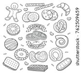 set of cookies and biscuit... | Shutterstock .eps vector #762509659