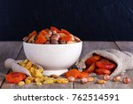 mix of nuts and dried fruits...   Shutterstock . vector #762514591