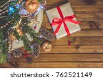 christmas tree  toys and gifts... | Shutterstock . vector #762521149