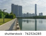downtown lake with construction ... | Shutterstock . vector #762526285