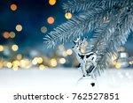 silver christmas fir tree...   Shutterstock . vector #762527851