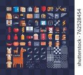 flat pixel art icons big set.... | Shutterstock .eps vector #762528454