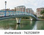 bridge with modern building and ... | Shutterstock . vector #762528859