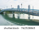 bridge with modern building and ... | Shutterstock . vector #762528865
