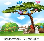 background scene with birds on... | Shutterstock .eps vector #762546874