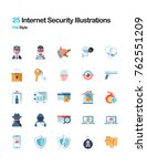 25 internet sercurity and cyber ... | Shutterstock .eps vector #762551209