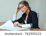 overworking business woman... | Shutterstock . vector #762555121