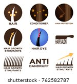hair logo set vector   9 icon | Shutterstock .eps vector #762582787