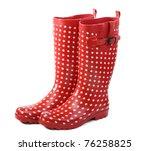 Polka Dot Red Rain Boots