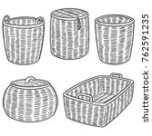 vector set of wicker baskets | Shutterstock .eps vector #762591235