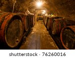Wine Barrels And Bottles In Th...