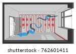 3d illustraton of wall heated... | Shutterstock .eps vector #762601411
