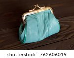 purse for coins. a leather... | Shutterstock . vector #762606019