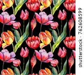 wildflower tulip flower pattern ... | Shutterstock . vector #762608599