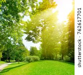 bright sunny day in park. the... | Shutterstock . vector #762617701
