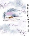 watercolor winter card... | Shutterstock . vector #762618991