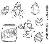 vector set of almond cartoon | Shutterstock .eps vector #762621001