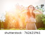 asian women in summer with... | Shutterstock . vector #762621961