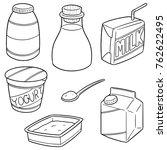 vector set of milk product   Shutterstock .eps vector #762622495