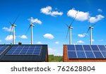 solar panel on the roof of the... | Shutterstock . vector #762628804